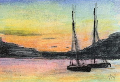 Watercolour painting. RWB0348 Lakka Sunset. Artist: Vandy Massey