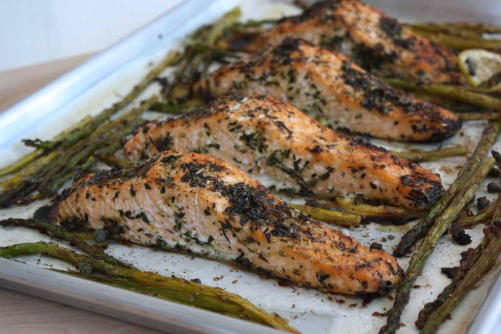 Sheet Pan Dinner Herb Crusted Salmon