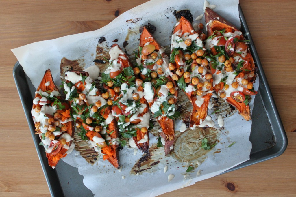 Mediterranean Stuffed Sweet Potatoes with Crunchy Chickpeas