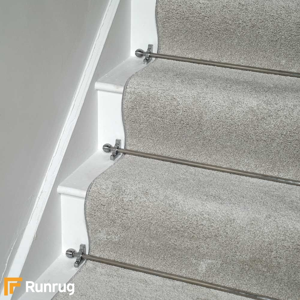 Southern Affair Silver 952 Stair Carpet Runner | Black And White Stair Carpet | Entry Hall | Square Pattern | Luxurious | American Style | Small Space