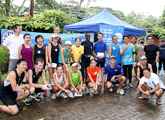 The MR25 'family' of runners gather for a photo-taking session at the end