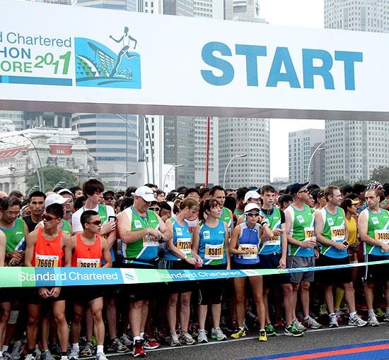 Runners gear up for the 10-kilometre flag-off