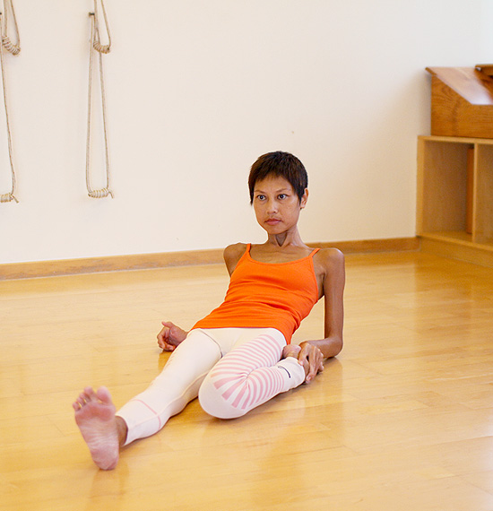 Pose #6: Supta virassana- for the hip flexor and psoas