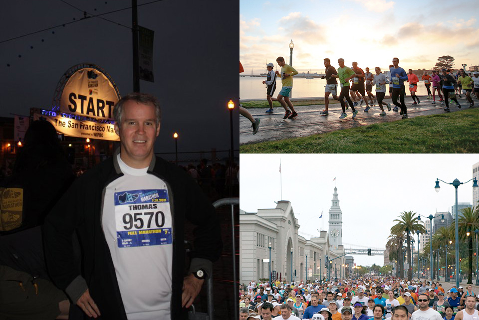 Left: Picard at The San Francisco Marathon; Right: Photo Credit to The San Francisco Marathon