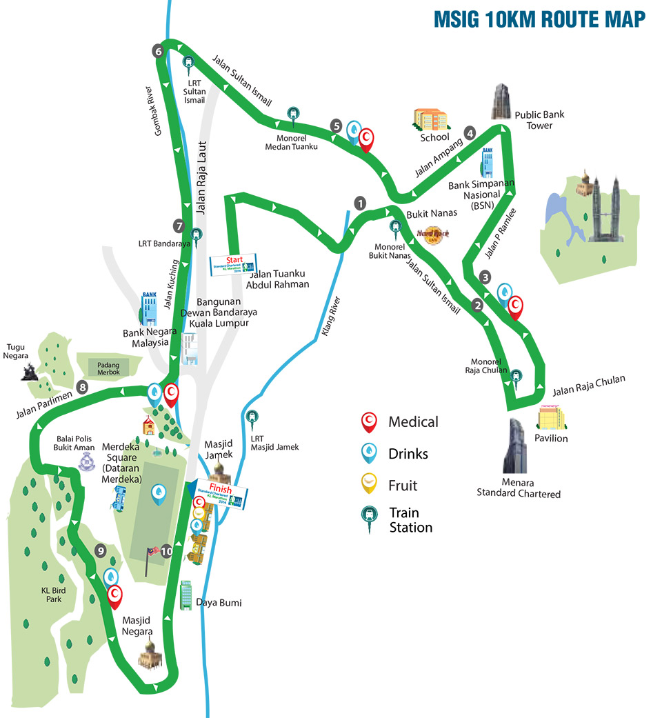 Standard Chartered Marathon KL 2014: 10km Route Map. See enlarged map.