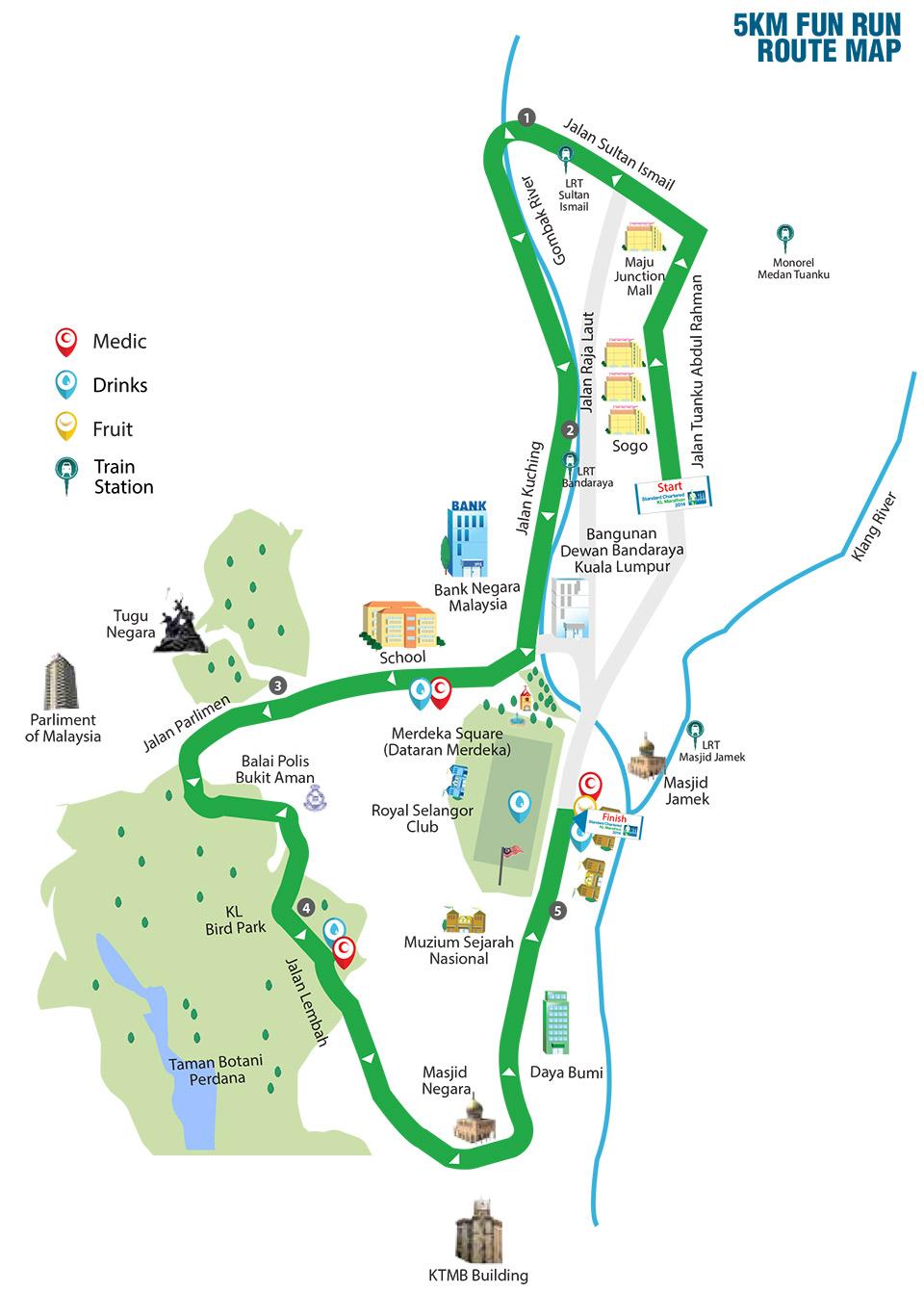 Standard Chartered Marathon KL 2014: 5km Route Map