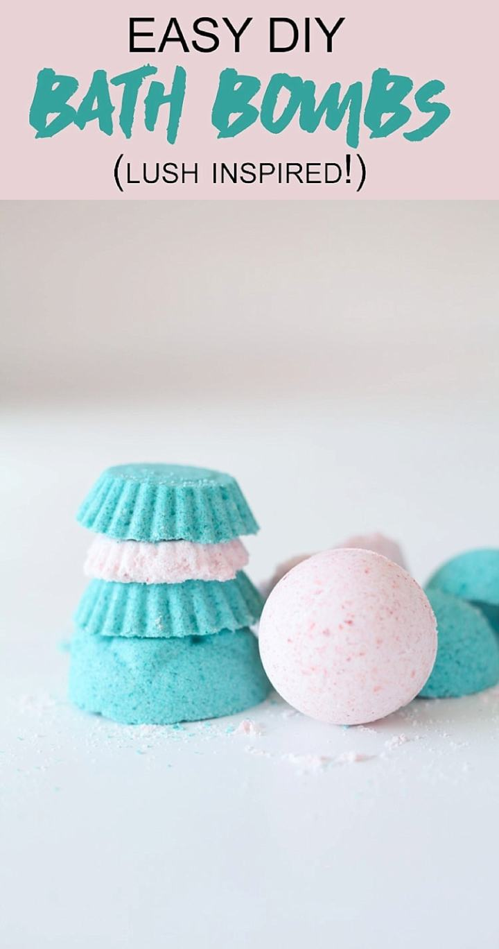 stack of bath bombs made with the lush bath bomb recipe