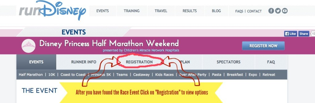 "Go runDisney.com, pick your race event, then right click on ""Registration"""
