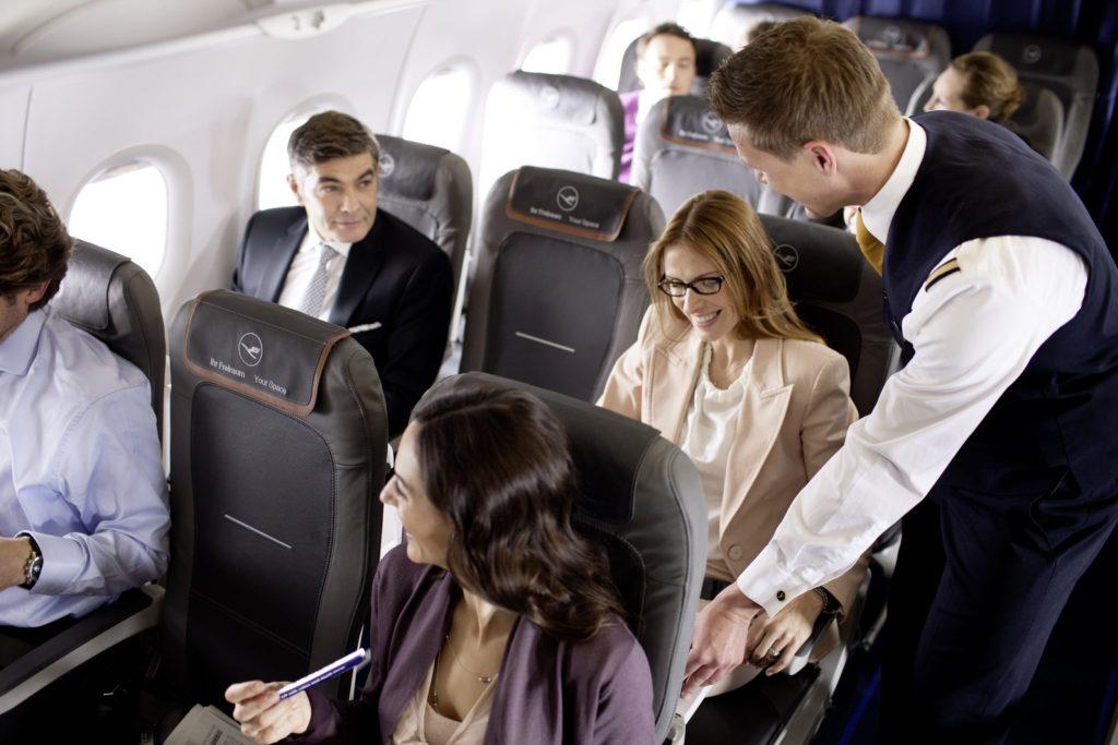The Lufthansa short- and medium-haul standard is Recaro's NEK seats