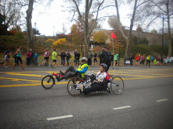 Wheelchair competitors heading to the finish