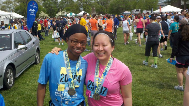 My friend Stephanie and I after the Broad Street Run