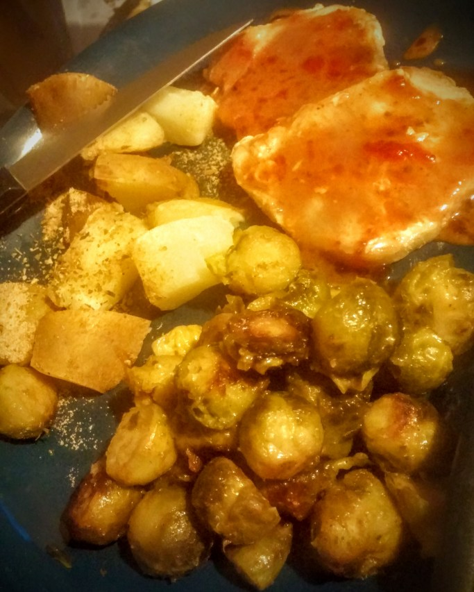 porkchops and roasted brussels sprouts