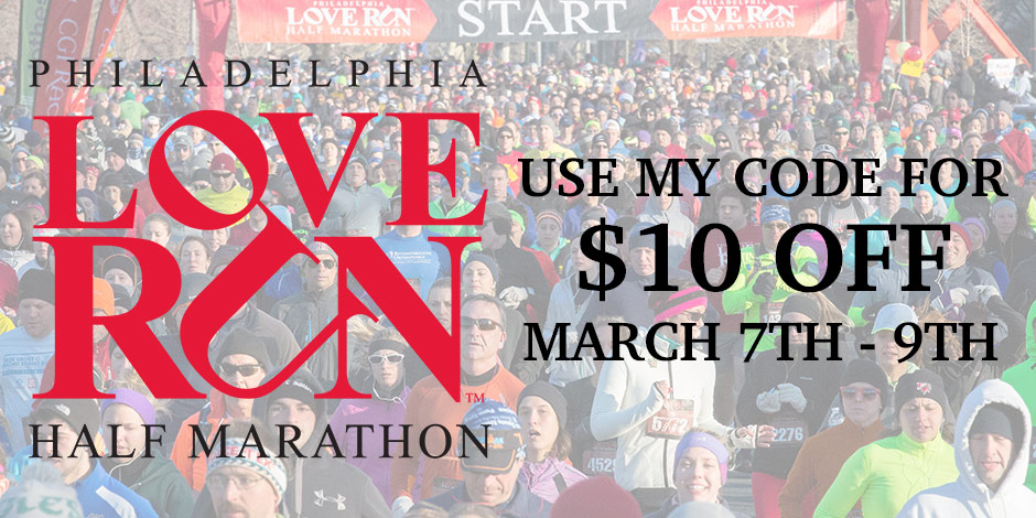 From 3/7 to 3/9 only, you can get $10 off the Love Run Half Marathon in Philly on 4/10 with code JANELLELOVE!