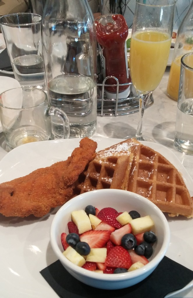 Chicken and waffles, and bottomless mimosas