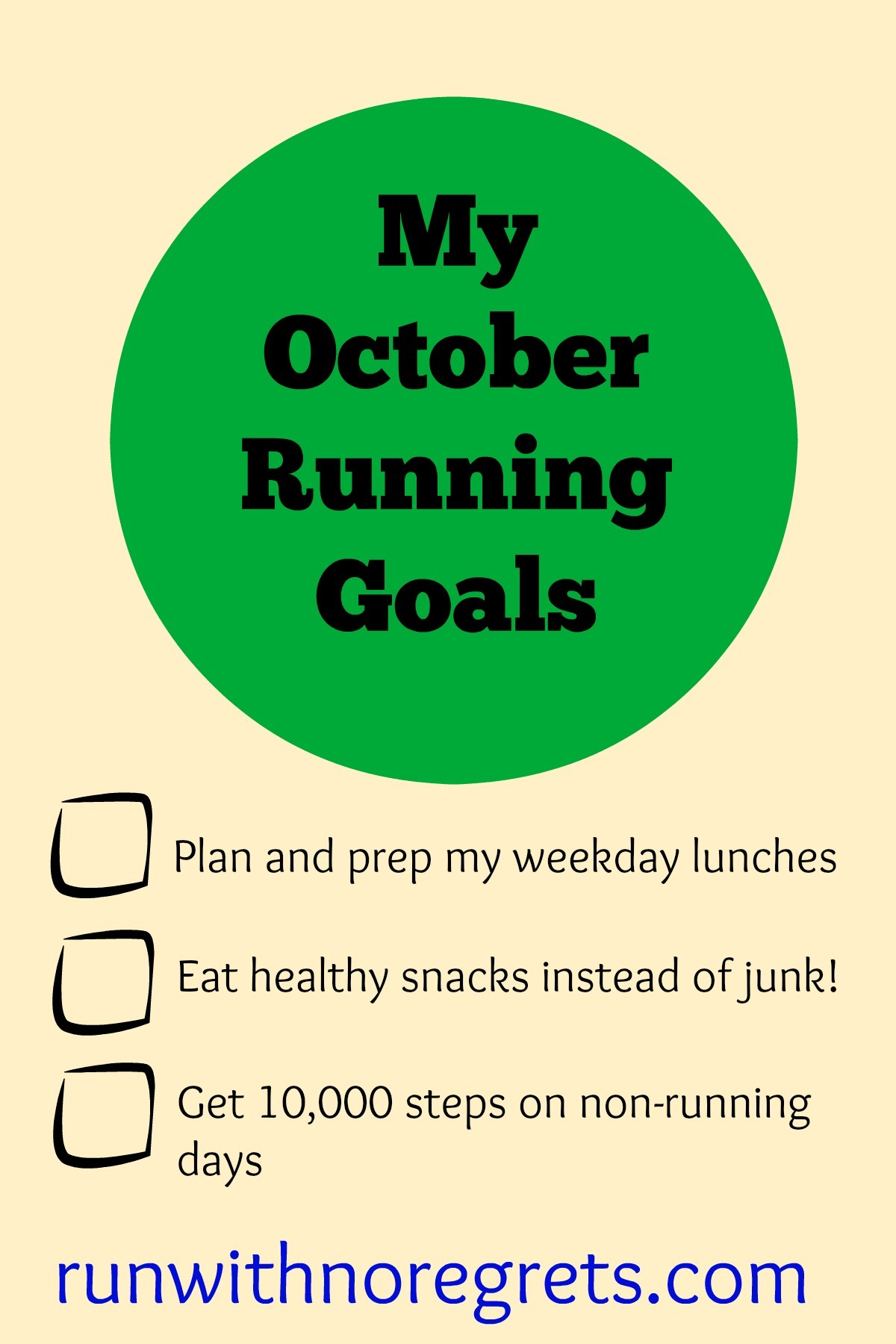 I'm sharing my running goals for October...writing down your goals helps so much with accountability! Get more running tips at runwithnoregrets.com!