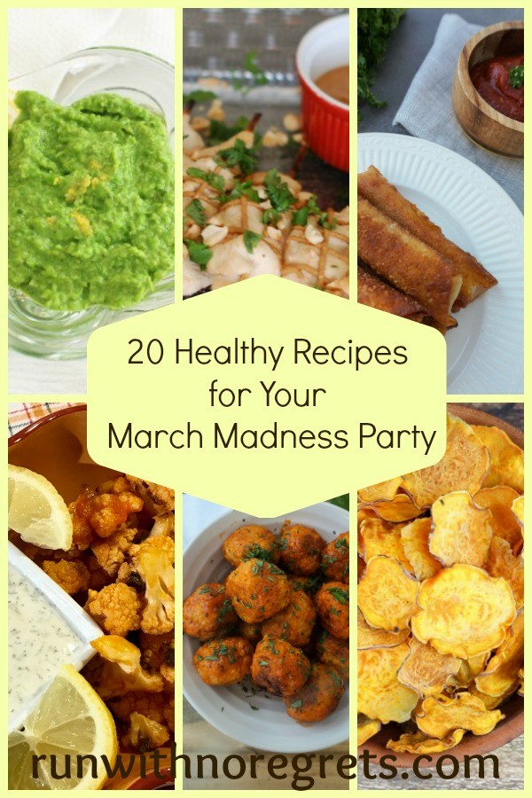 Are you a college basketball fan? March Madness is coming up and I've rounded up some delicious, healthy appetizers for your game-day party! Check out more on healthy living at runwithnoregrets.com!