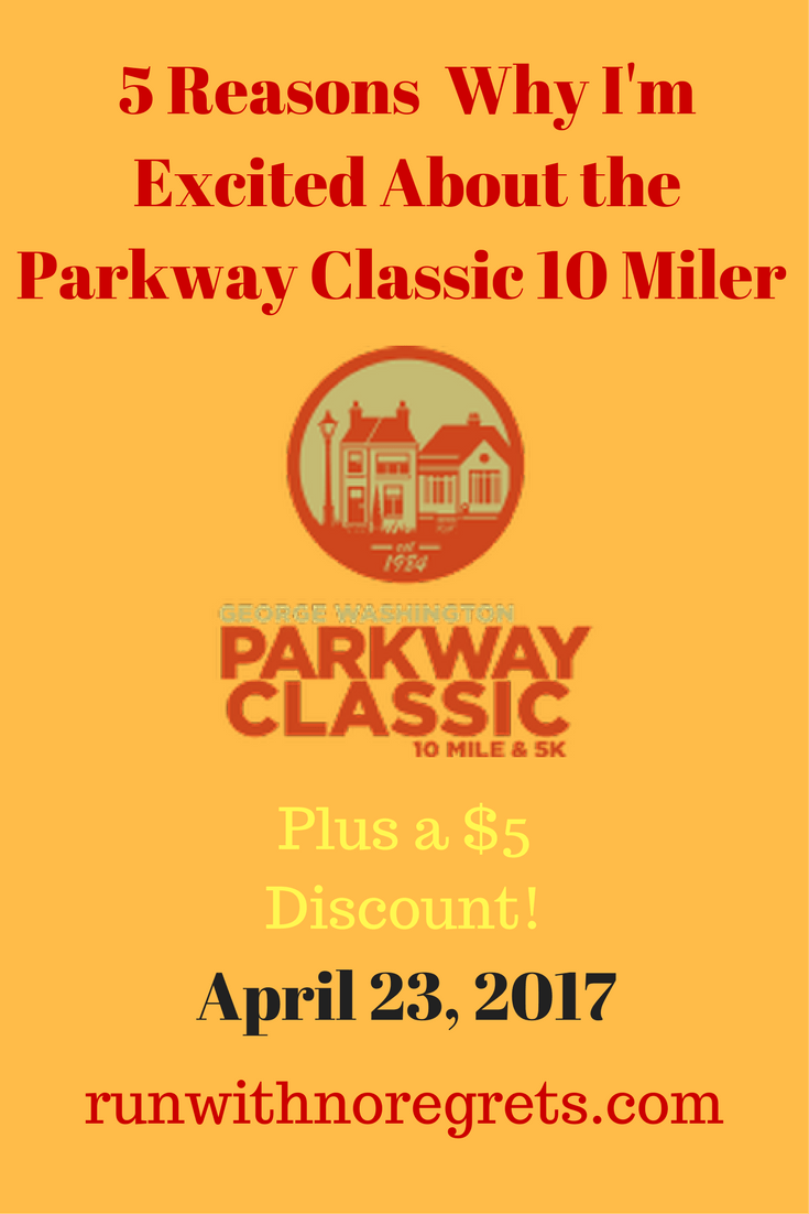 I'm sharing my reasons why I'm excited about the Parkway Classic 10 Miler! You can get $5 off the 10 mile or 5K with code 17gwpBibRave. Find more race discounts at runwithnoregrets.com!