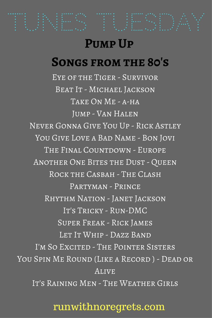 Check out my latest compilation of music for Tunes Tuesday - pump up songs from the 80's! You can find more running playlists at runwithnoregrets.com!