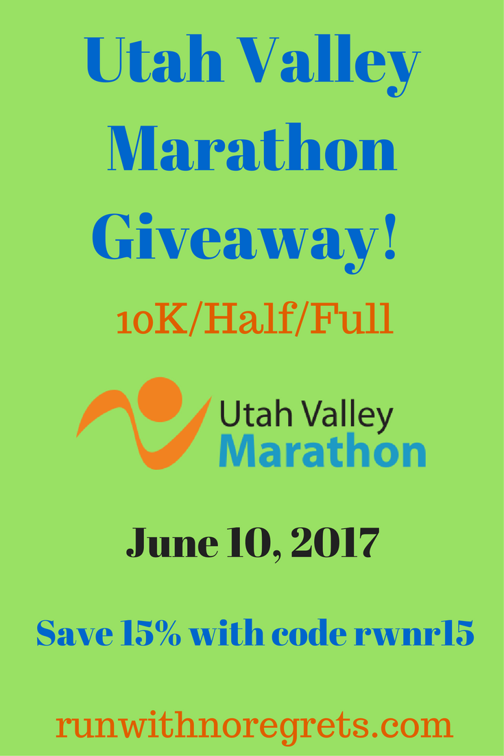 If you're looking to run in Utah, check out the Utah Valley Marathon on June 10, 2017! I'm hosting a giveaway for 2 winners! Check it out at runwithnoregrets.com!