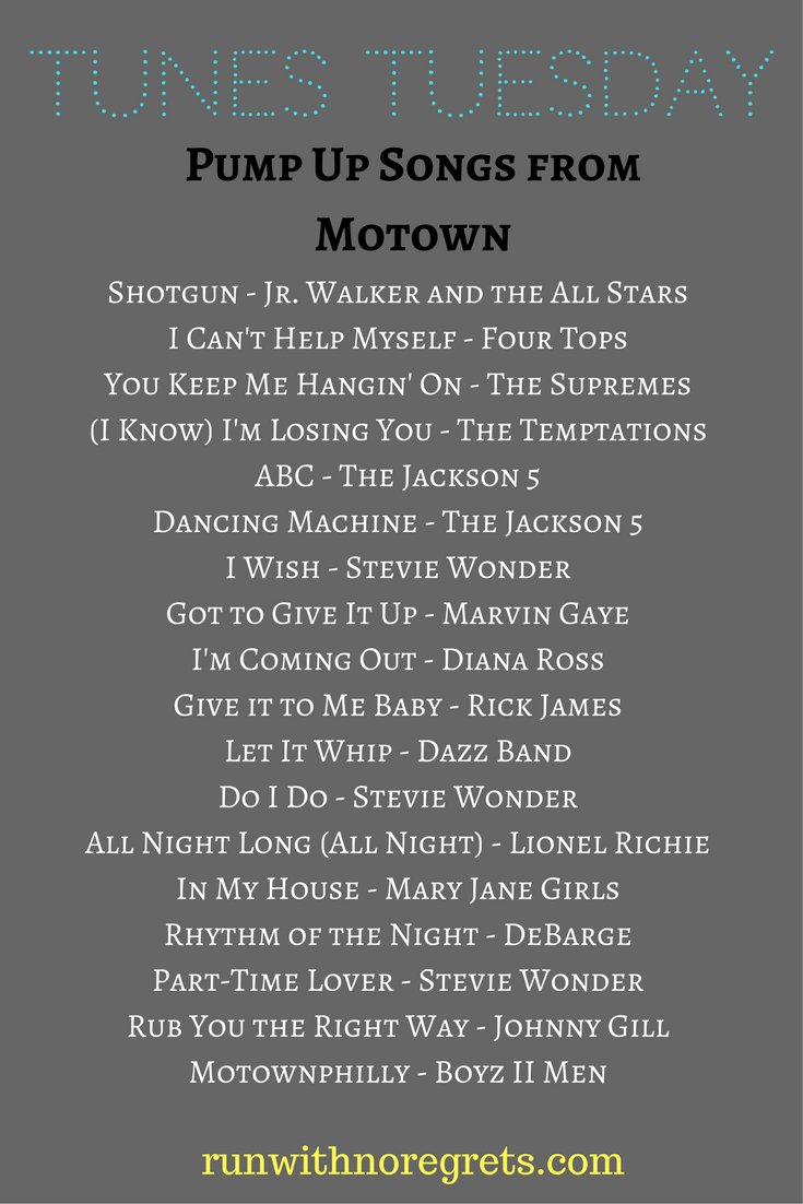 For this month's Tunes Tuesday, I'm sharing my favorite jams from Motown artists! Find more songs for your running playlist at runwithnoregrets.com!