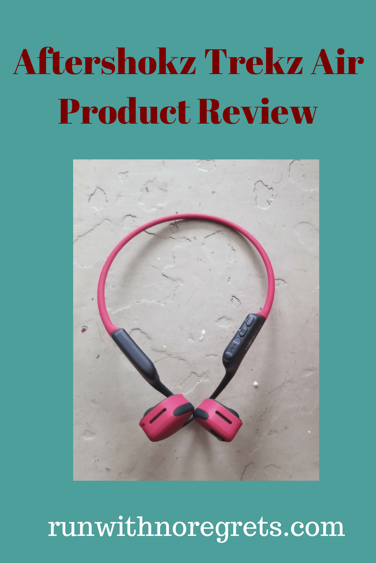 I'm sharing my review of the Aftershokz Trekz Air bluetooth wireless headphones! They're great for running and working out! Find more reviews at runwithnoregrets.com!