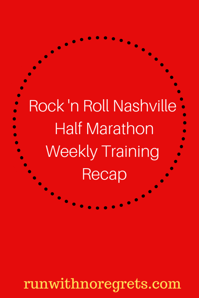 Every 2 weeks, I'll be sharing my updates on training for the Rock 'n Roll Nashville Half Martahon taking placing on April 28, 2019! Learn more about race training at runwithnoregrets.com!