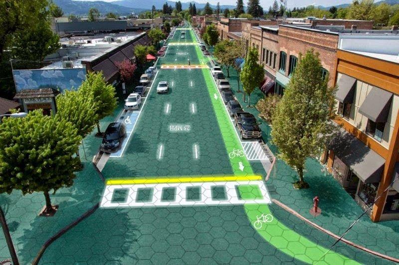 طرق تنتج الطاقة الشمسية تضيء و تتفاعل مع السيارات