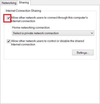 السماح لأجهزة الشبكة بالإتصال عبر حاسوبك