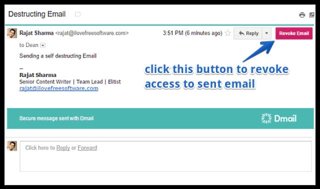 طريقة حذف و تدمير رسائل البريد الإلكتروني ذاتياً بعد إرسالها 6