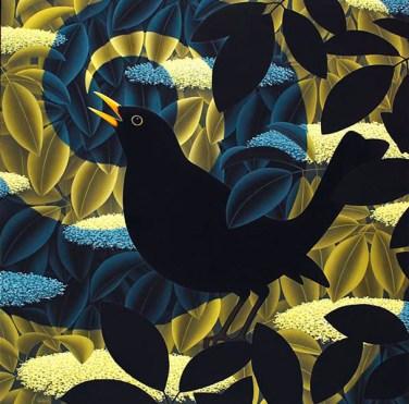Blackbird Singing 24 x 24 ins Oil on Linen