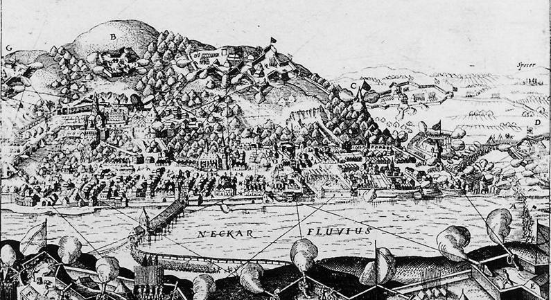 Beschuss Heidelbergs während des Dreißigjährigen Krieges (Ausschnitt aus einem Flugblatt von 1622). Bild: Wikimedia commons/ Michail
