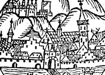 Diese Zeichnung von Sebastian Münster aus dem Jahr 1527 ist die älteste erhaltene Darstellung Heidelbergs. Deutlich ztu sehen sind das Schloss (noch im Bau), die Peterskirche und die Alte Brücke. Bild: Wikimedia commons