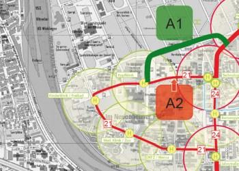 Der Plan der Stadt für die neue Straßenbahntrasse, die das Neuenheimer Feld erschließen soll. Die grüne Linie (A1) zeigt den Vorschlag der Universität, die rote (A2) den der Stadt Heidelberg gemäß der Planfeststellung. Bild: Stadt Heidelberg