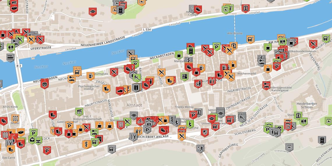 Mehr rot als grün: Die Heidelberger Altstadt ist nur bedingt barrierefrei. Fotos: wheelmap.org