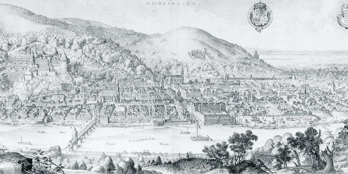 """Viele Details in Matthäus Merians """"Große Stadtansicht von Heidelberg"""" (1620) wirken auch heute vertraut"""