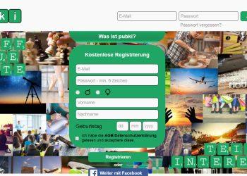 Die Login-Seite von pubki verspricht Treffen für jedes Interesse Bild: Screenshot www.pubki.de