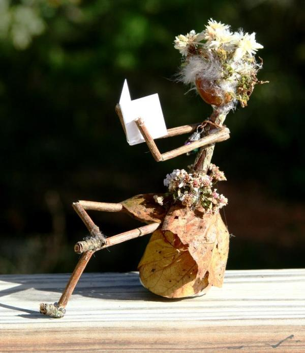 Acorn Lady Reading, not suffering from any sort of creative curse. Acorn Lady Reading OOAK by Madison Woods