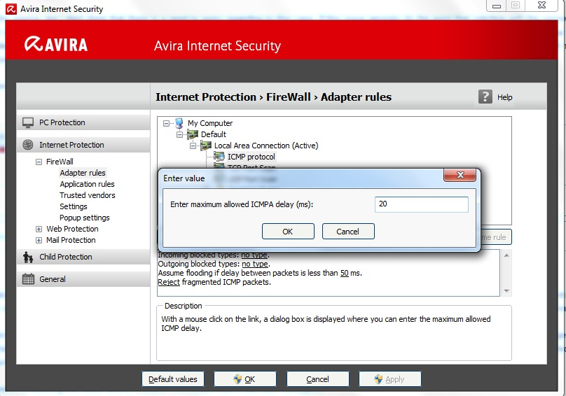 "Adapter ""Local Area Connection"" is ICMP flooded Avira"
