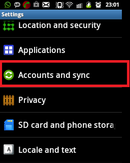 Sync Contacts via Gmail - Step 1