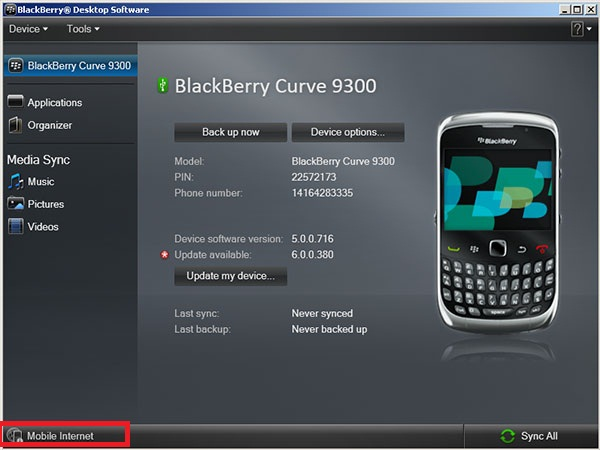 Use Blackberry phone as Modem - Blackberry Desktop Manager