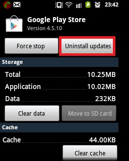 Uninstall Google Playstore Updates