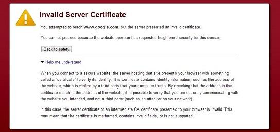 How to Fix Invalid Server Certificate Error in Google Chrome
