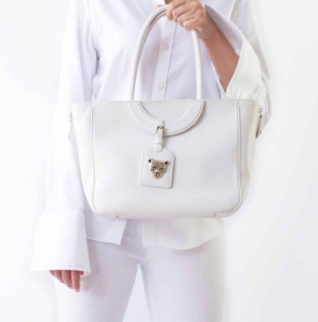 Mezzaluna Tote White Leather Tote by RusiDesigns