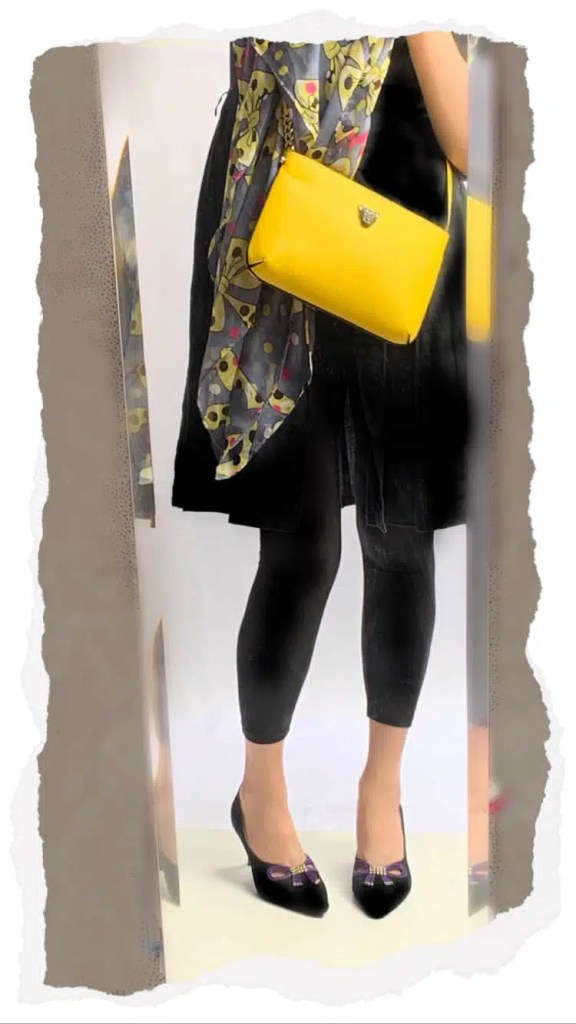 Yellow crossbody bag outfit