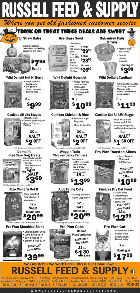 October Star Telegram Ad Specials