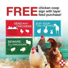 It's Flocktober at Russell Feed & Supply, October 1 through October 31, 2021! Get a free coop sign with purchase of Purina Layer Feed 35#.