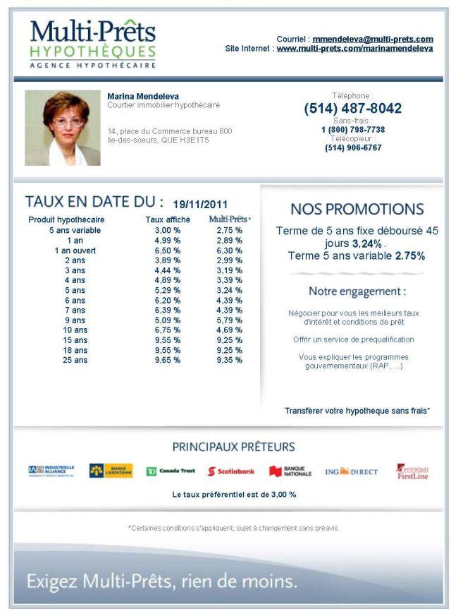 Taux hypothécaires 19.11.11.