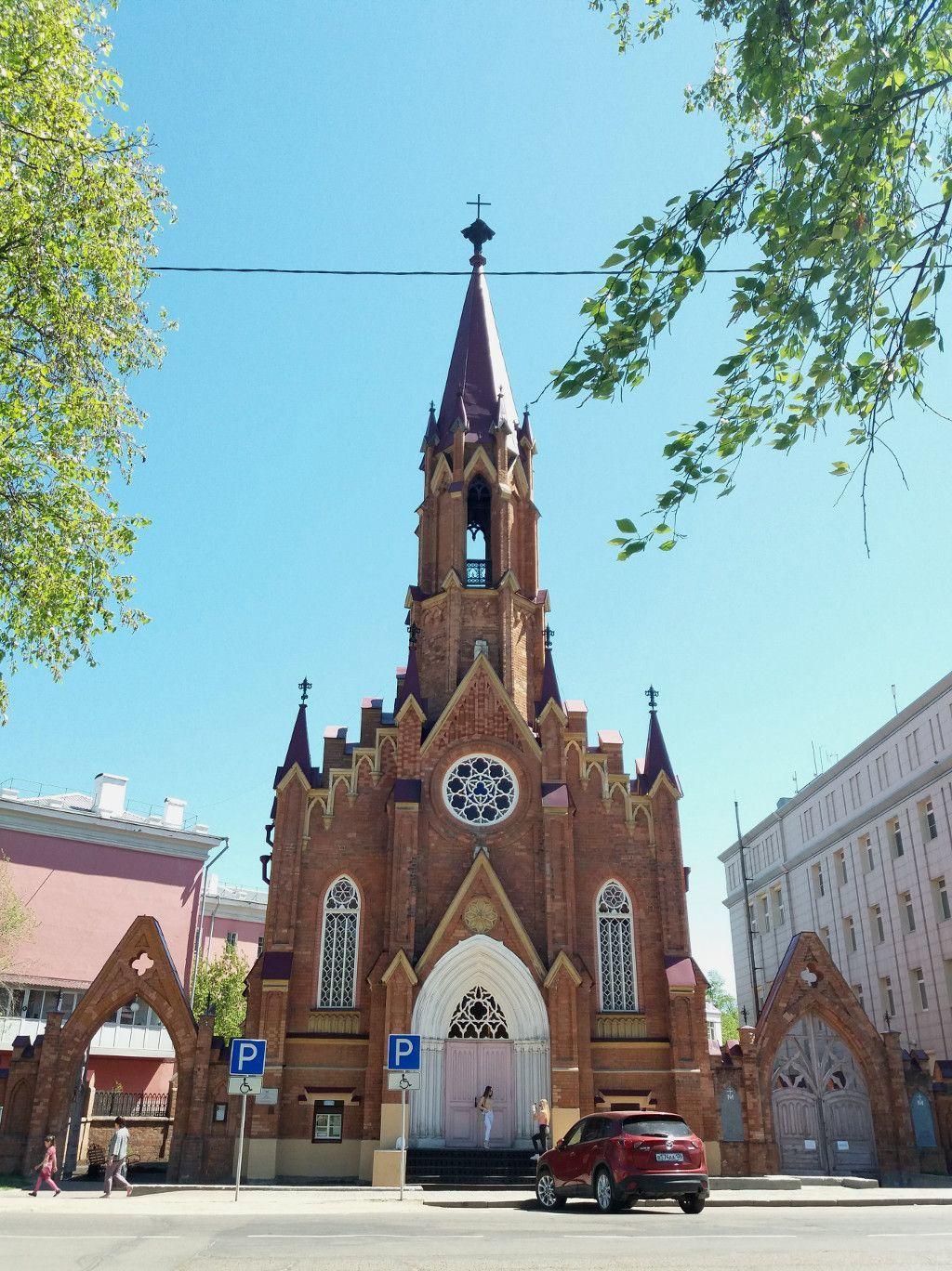 Die polnische katholische Kirche an der grünen Linie in Irkutsk