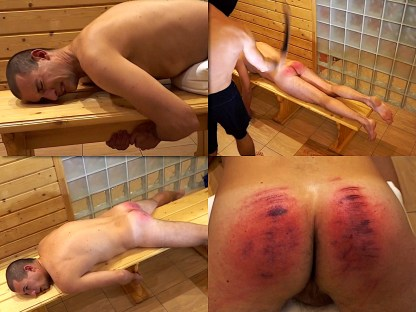 Male spanking by belt and cane Vanya