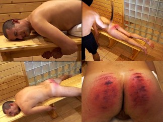Male spanking by belt and cane Vanya